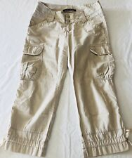 DKNY JEANS Beige Khaki Capri Cargo Goucho Short Pants Size 7 FLAWED
