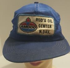 AMOCO Blue Mesh Cap Snapback Vintage Trucker Hat Ruds Oil North Dakota Well Worn