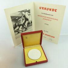 Meissen Medaille mit Urkunde Bester Sportler ASV e1804