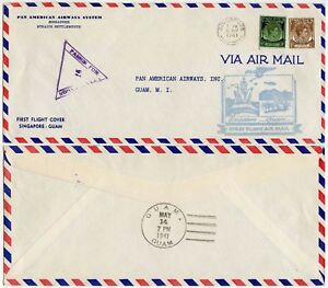 SINGAPORE to GUAM PAN AM FIRST FLIGHT 1941 STRAITS PRINTED ENVELOPE MALAYA