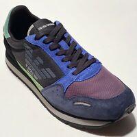 Armani Logo 7 40 Men's Fashion Sneakers Sport Tennis Shoes Blue Lime Black