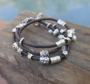 Sundance Passions Leather and Sterling Multi Wrap Bracelet
