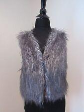 Womens Gray Faux Fur Striped Hook Vest -Large