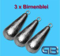 3 x Birnenblei mit Öse, 70g, 90g, 100g, 120g Angelblei, Grundblei, Karpfenblei.
