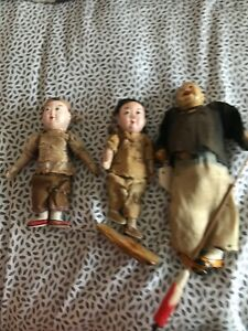 Antique Chinese Dolls Composition? Asian Clothing Embroidered