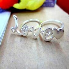 Silver tone love & heart double finger ring UK Size M O
