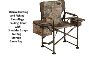 Deluxe Hunting and Fishing Chair Folding Camo Ice Bag Storage Game Bag Straps