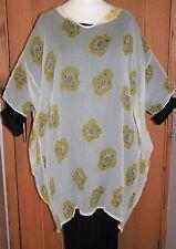 """Masai tunique 80+"""" buste wide fit Sheer ample sur-robe Citron Floral Vieux"""