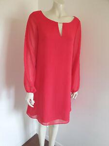 Promod Long Sleeve Red Chiffon Shift Dress Size 16 ?