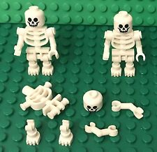 Lego X3 White Skeleton Mini Figure W/ Thick Shoulder Pins,different Style Hands