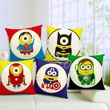 "5pcs 18"" Despicable me Minion Heroes Linen Throw Pillow Case Cushion Cover Set"