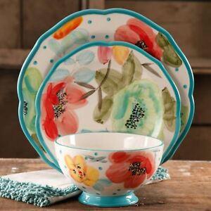 The Pioneer Woman Vintage Bloom 12-Piece Dinnerware Set, Turquoise