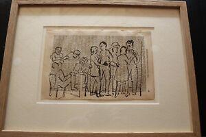 A.R.Penck, Tuschezeichnung auf Lexikonseite von 1961 -Tanzgruppe gerahmt Unikat