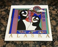 Beautiful Alaska Puffins Fish Mountains Ceramic Tile Trivet Art Deco