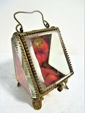 CA. 1890'S POCKET WATCH OR JEWEL DISPLAY CASKET, BEVELED GLASS