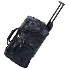 """21"""" Leather Rolling Duffle Bag Trolley Wheeled Carry on Luggage Suitcase Tote"""