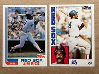 Jim Rice Topps Baseball Card Lot(2): '82 & '84. Red Sox