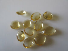10 Pcs Faceted Rose Cut Citrine Gemstones Cabochons Flat Back 10-12mm Each CL130