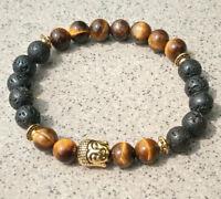 8mmTigereye Volcanic Bracelet Wrist cuff Gemstone men Lucky Monk Sutra mala