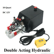 10 Quart Double Acting Hydraulic DC - 12V Pump Dump Trailer Unit Metal Reservoir