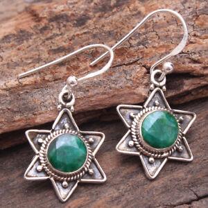 Emerald Gemstone Fine HANDMADE Jewelry 925 Solid Sterling Silver Earring