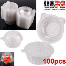 100p Clear Plastic Single Cupcake Cake Case Muffin Pod Dome Holder Box Container