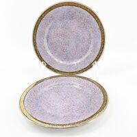 "Pair of VTG Toyo Porcelain China Plate Gold Rim Purple Red Black Spongeware 8"""