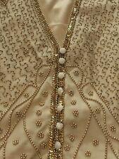 Spenser Jeremy Gold Vest Beaded Sequin Silk Drama Theater Christmas Embellished