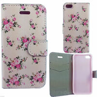 Light Pink Magnetic Leather Flower Wallet Case Cover For Samsung Galaxy IPhones
