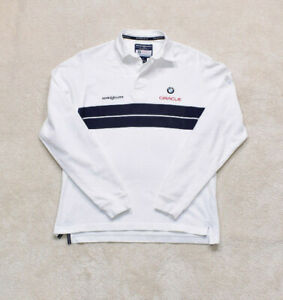 Vintage Henri Lloyd BMW White Rugby Polo Top Size Small