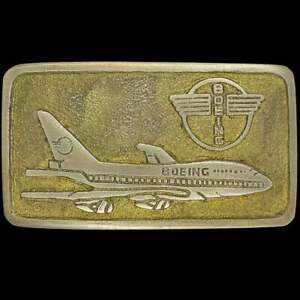 Boeing Aircraft 737 747 757 707 Commercial Aviation Brass Vintage Belt Buckle