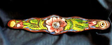 Real Leather BEACH WEAR Carved Jewelry Bracelet Wild Rose Design 1