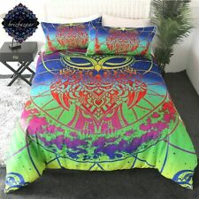 Rainbow Owl By Brizbazaar Bedding Set Watercolor Chakra Duvet Cover Bed Set
