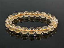 Natural Yellow Citrine Round Stone Bead Stretch Bracelet