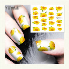 1pc Yellow Flower Water Decals Nail Art Transfer Stickers Manicure Decor YZW145