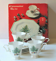 NIKKO Christmastime 12 Piece Set in Box  4 Dinner Plates 4 Cups  4 Saucers w/Box