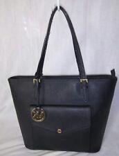 Michael kor Authentic Saffiano Leather Jet Set Top zipper Pocket Tote Bag Black