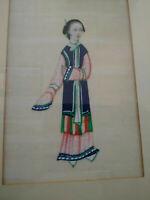 Gouache miniature peinture sur papier de riz courtisane Chine papier de moelle