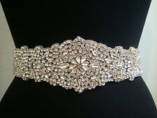 "Clear Rhinestone Wedding  Applique Trim Craft = rounded shape = 12"" long = DIY!"