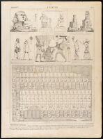 1860 Gravur Histoire: Égypte. Sphinx, Pyramiden, Gott, Tisch ' Abydos, Theben