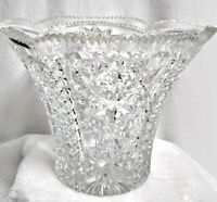 "Vintage Large Leaded Crystal Vase Diamond Zipper Cut 6""h x 8""w x 4"" Bottom"