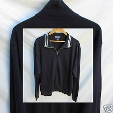 Lands End Track Jacket Top Men L Navy Gray