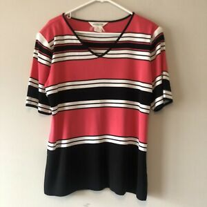 Exclusively Misook Pink Black Striped Padded Blouse Size XL