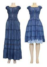 New Ladies Denim Look Cotton Maxi Dress Short Sleeve Women