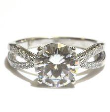 14k white gold round moissanite engagement ring 3.6g estate vintage