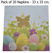 20 Easter Flowers Eggs Napkins Spring Party 3 Ply Serviettes Tableware