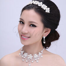 Crystal Rhinestone Pearl Necklace Earrings Plated Jewelry Set For Wedding Bridal