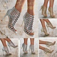 Ladies Diamante High Heel Sandals Shoes Caged Evening Booties UK size 3-8 20383