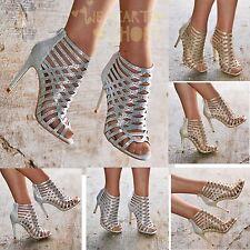 Ladies Diamante High Heel Sandals Shoes Caged Evening Booties UK size 3-8 20383
