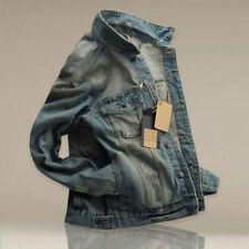 Men's Slim Fit Classic Retro Thicken Coat Jean Denim Jacket Lapel Outerwear L